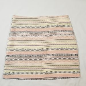 Loft Striped Straight Mini Skirt Zig Zag Print